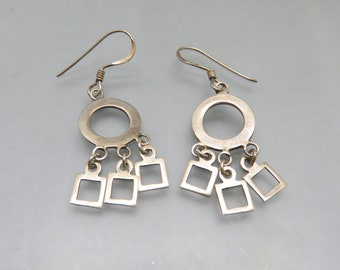 Vintage Sterling Silver Circles and Squares Pierced Earrings