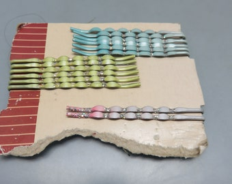 Pastel Bobby Pins, With Glitter, 3 Colors, Mint on Card