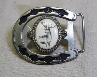 Elk Scrimshaw Medallion Belt Buckle, Cast Aluminum, Horse Shoe Design