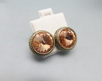 Big Peachy Pink Rhinestone Stud Earrings, Headlight Style Pierced Earrings