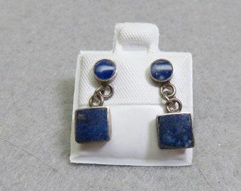 Vintage Blue Sodalite Stone Petite Pierced Earrings