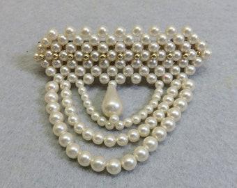 Plastic Pearl Drape Vintage Hair Barrette