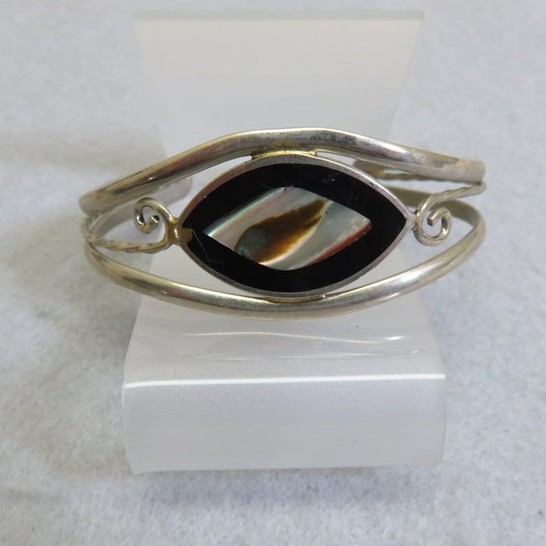 977820f60 Black Enamel Abalone Shell Cuff Bracelet Vintage Alpaca | Etsy