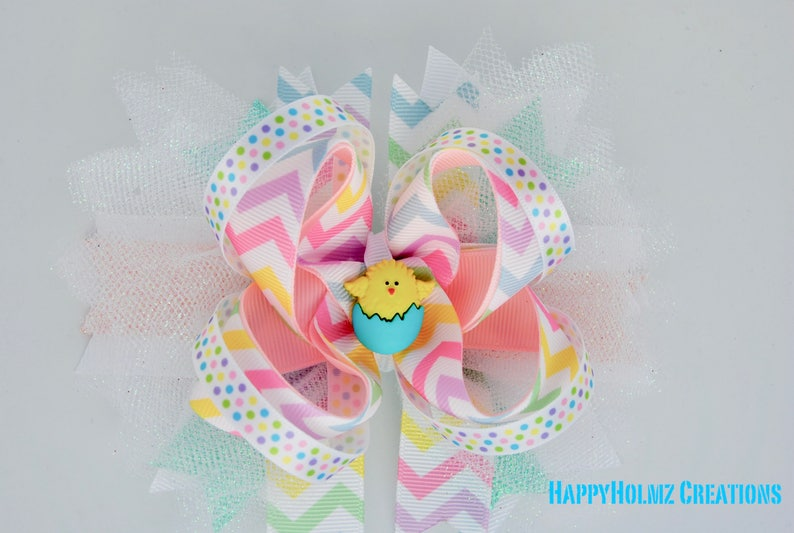"""5"""" Handmade Pastel Easter Bunny Feather Stacked Boutique Hair Bow"""