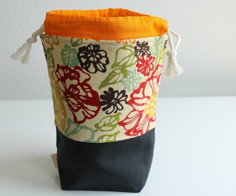 Medium Orange Accented Floral Fabric Drawstring Project Bag