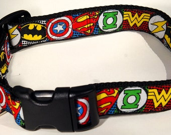 """Comic Book Super Heroes 5/8"""" Wide Colorful Dog Collar*NOT A LICENSED PRODUCT* --Medium, Small"""