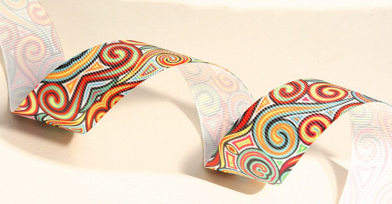 Shapes And Swirls Colorful Grograin Ribbon