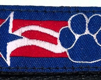 Patriotic Paws, Stars & Stripes Dog Collar Fundraiser For Service Dogs - Large, Medium, Medium Plus