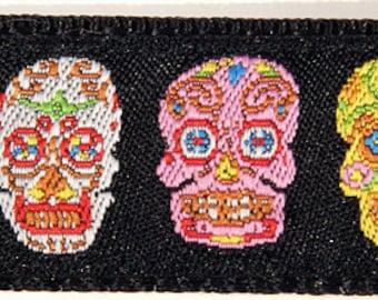 Colorful Sugar Skulls Dia de los Muertos Day of the Dead Dog Collar--Large, Medium Plus, Medium