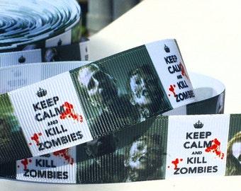 Keep Calm - Kill Zombies Grosgrain Ribbon