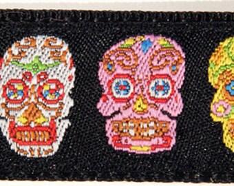 """Colorful Sugar Skulls Day of the Dead Dia de los Muertos 5/8"""" Wide dog Collar--Medium, Small"""