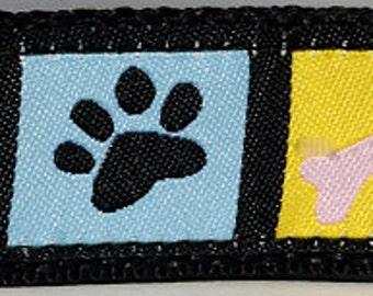 """Paws & Bones Colorful 1"""" Wide Dog Collar (Large, Medium Plus, Medium)"""