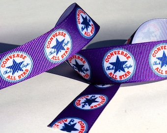 """Purple Converse All Stars 'Chuck Taylor' 7/8"""" Wide Grosgrain Ribbon *NOT A LICENSED PRODUCT* - Choose A Length"""