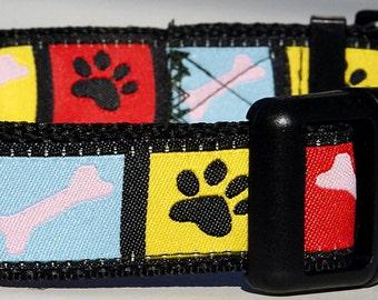 "Colorful Paws & Bones 5/8"" Wide Dog Collar (Medium, Small)"