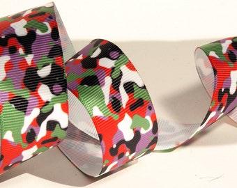 Colorful Camo Camouflage Grosgrain Ribbon