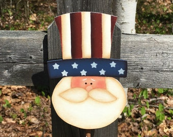 Uncle Sam plant poke, 4th of July decor, Americana decor, primitive home decor, hand painted primitive uncle Sam, gardening gifts, hostess