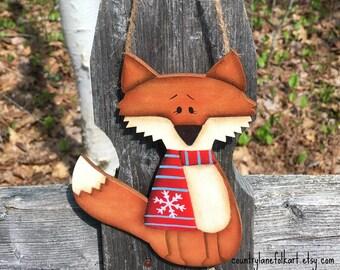 Fox christmas ornament, best selling item, unique christmas ornaments, hand painted christmas ornament, grandson ornament, coworker gift