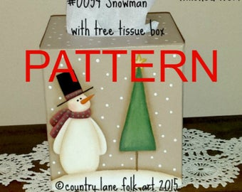 snowman painting epattern, Snowman with Tree Tissue box cover, painting patterns, tole painting pattern, Christmas painting pattern, winter