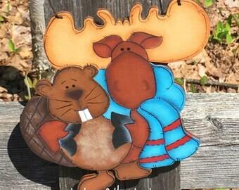 moose christmas ornaments, beaver christmas ornaments, unique christmas ornament, christmas ornaments handmade, hand painted wood ornament