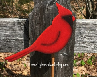 Cardinal wood plant stick,  bird decor, hostess gifts, best selling items, gift for gardeners, plant decor, gardening gifts,