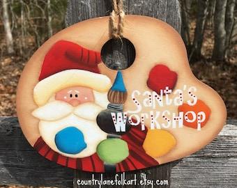 Santa Claus ornament, Santa Christmas ornament, hand painted Santa Claus, wood christmas ornament, Santa's workshop, unique christmas