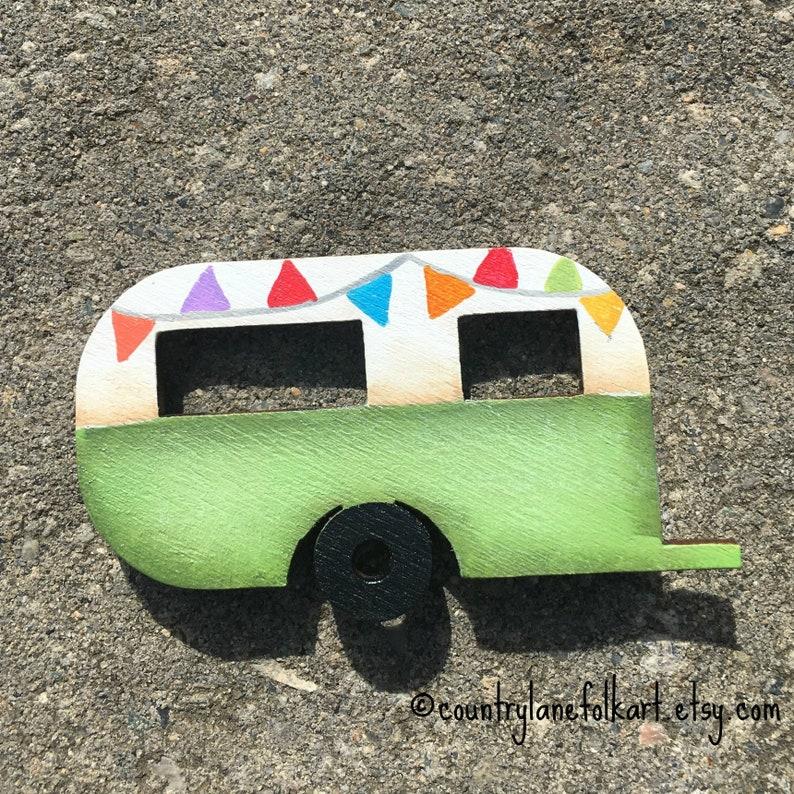 green camper magnet cute fridge magnets camper decor image 0