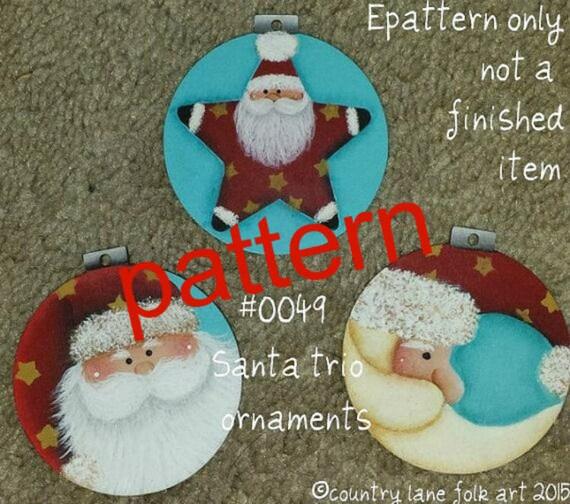 Santa ornaments painting epattern, Santa trio ornaments, painting patterns, tole  painting patterns, decorative painting, Christmas pattern, - Santa Ornaments Painting Epattern Santa Trio Ornaments Etsy