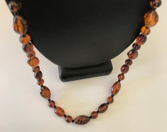 Vintage Faux Tortoise Long Lucite Beads