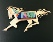 Vintage Native American Zuni Inlay Horse Pin Signed Sterling
