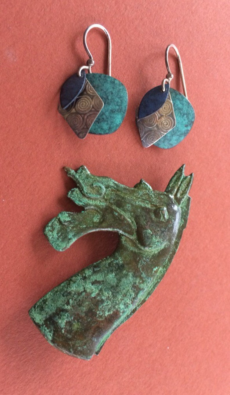 Han Dynasty Inspired Oxidized Bronze Metal Brooch Paired With Three Layer Dangle Pierced Earrings