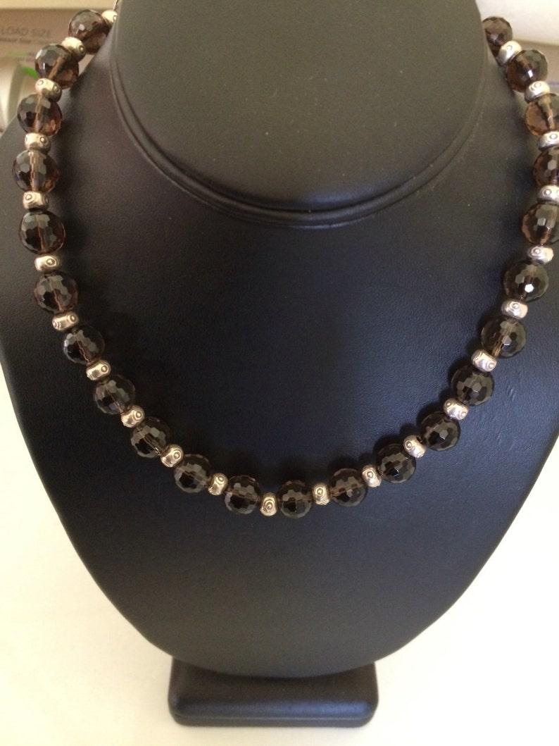 Vintage 925 Sterling Silver and Faceted Clear Taupe Brown Bead Necklace