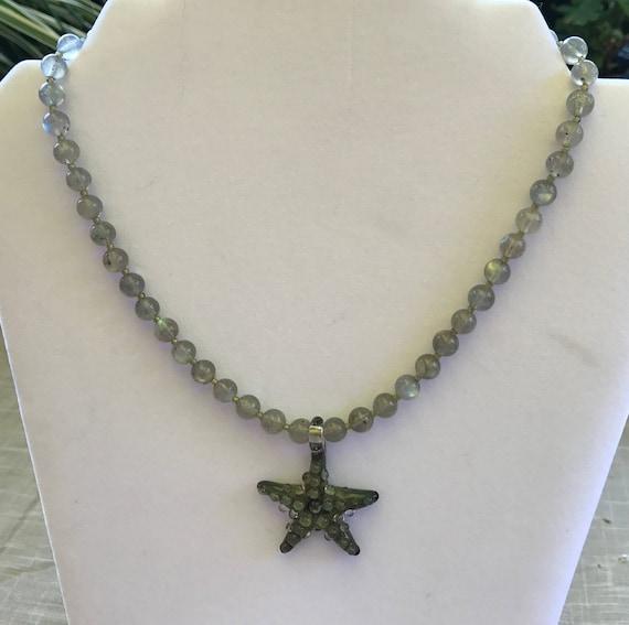 Labradorite and Art Glass Starfish Necklace