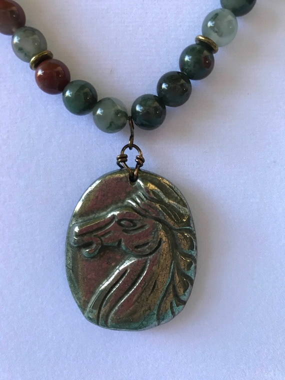 Bloodstone and Pyrite Horse Necklace