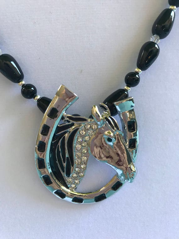 Onyx and Lucky Horse Pendant