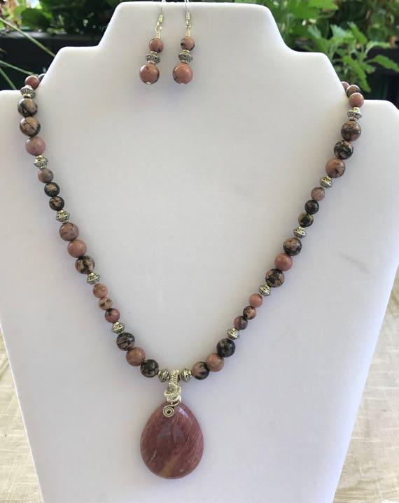 Rhodonite Necklace Set