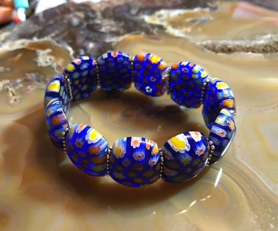 Millefiori Blue Glass Stretch Cuff Bracelet