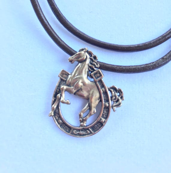 Five different Brass and or Sterling Silver Horse Charm Necklaces