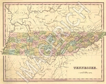 Tennessee state map | Etsy