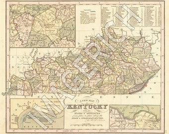 Vintage State Map - Kentucky 1836