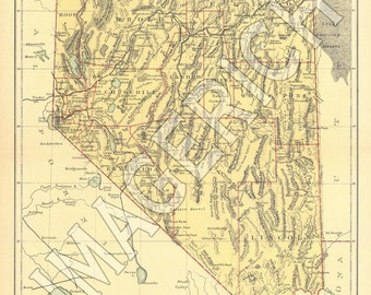 Vintage State Map - Nevada 1885