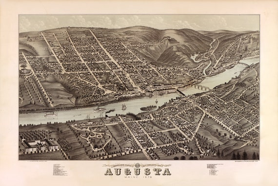 Vintage Map Augusta Maine 1878 Etsy