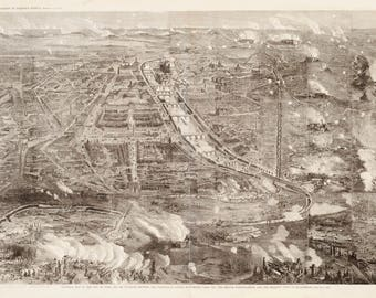 Vintage Map - Paris, France 1871