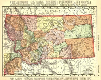 Vintage State Map - Montana 1895