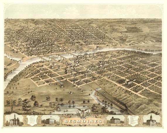 Vintage Map - Des Moines, Iowa 1868