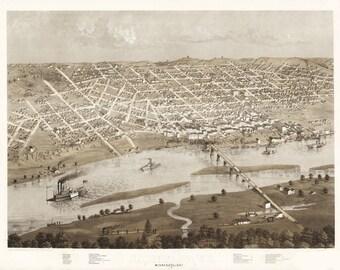 Vintage Map - St Paul,  Minnesota 1867