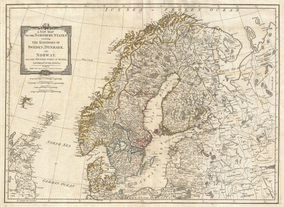 Vintage Map Scandinavia Norway Sweden Denmark 1794   Etsy