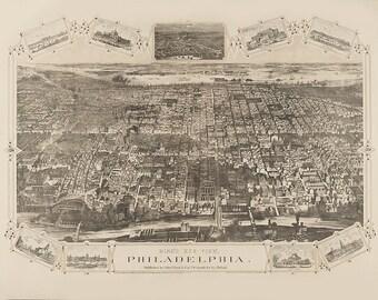 Vintage Map - Philadelphia, Pennsylvania 1876