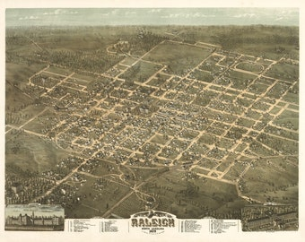 Vintage Map - Raleigh, North Carolina 1872