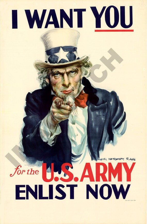 World War II Poster - Uncle Sam - I Want You - For the U S  Army