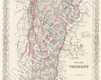 Vintage State Map - Vermont 1855
